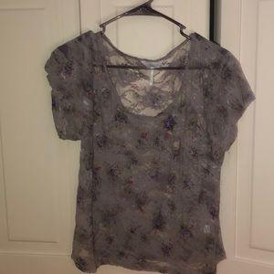 Gray lace flower blouse